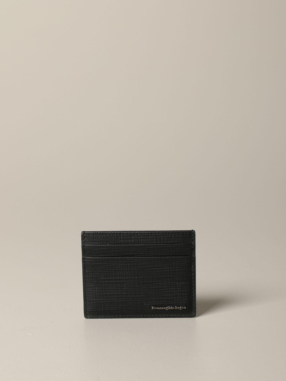 Ermenegildo Zegna Leder Kreditkartenhalter schwarz 1