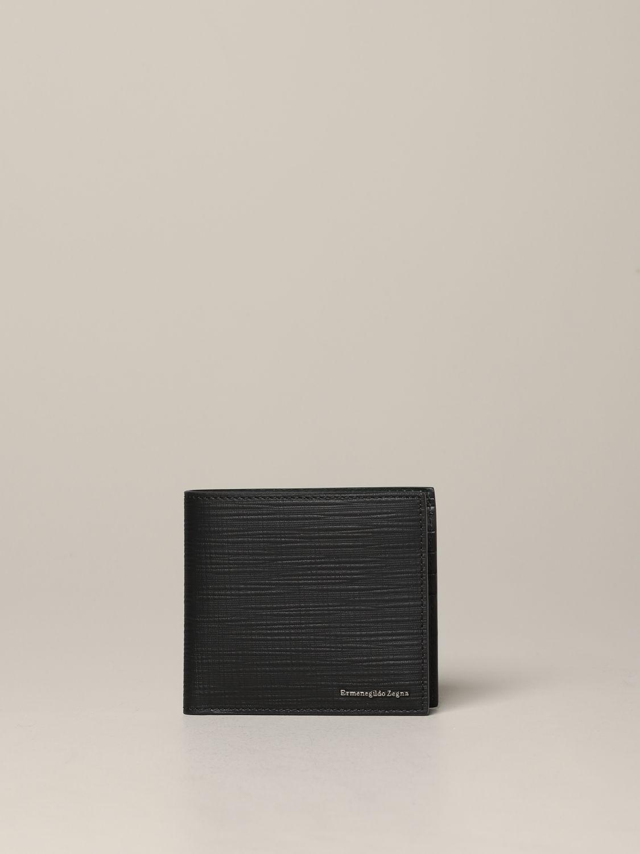 Ermenegildo Zegna Geldbörse aus strukturiertem Leder mit Logo schwarz 1