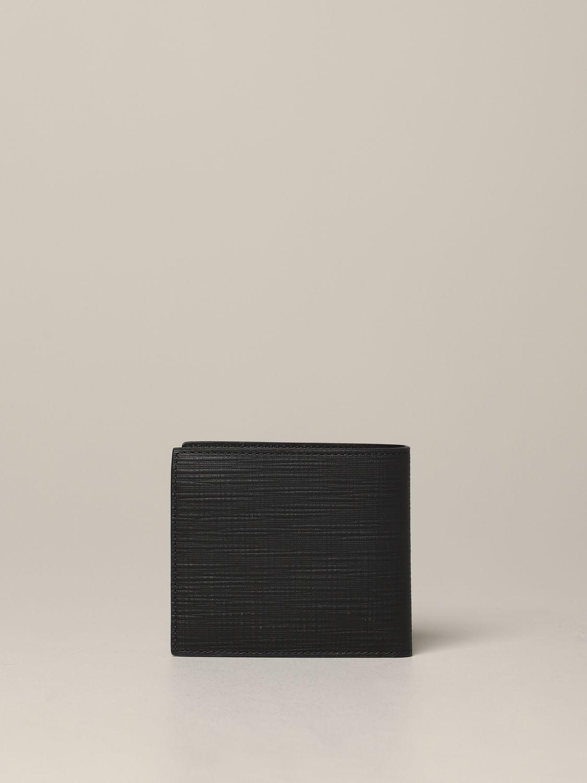 Ermenegildo Zegna Geldbörse aus strukturiertem Leder mit Logo schwarz 3