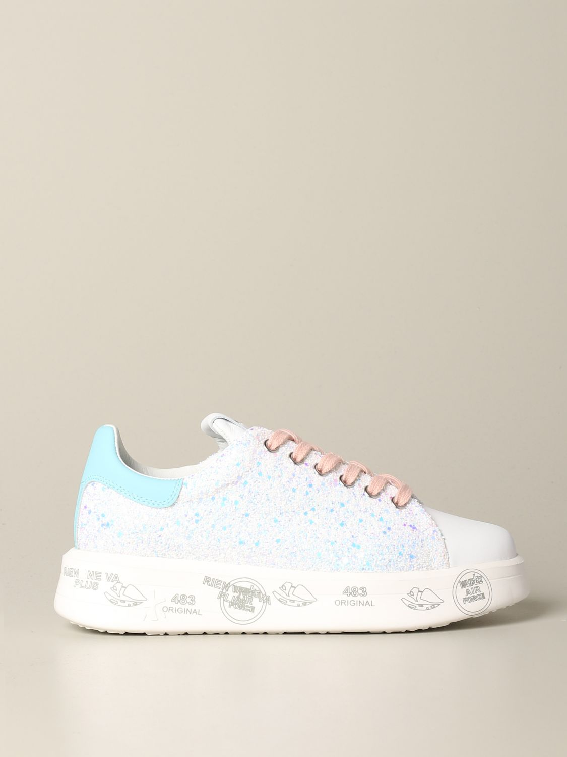 Belle Premiata sneakers in leather and glitter white 1