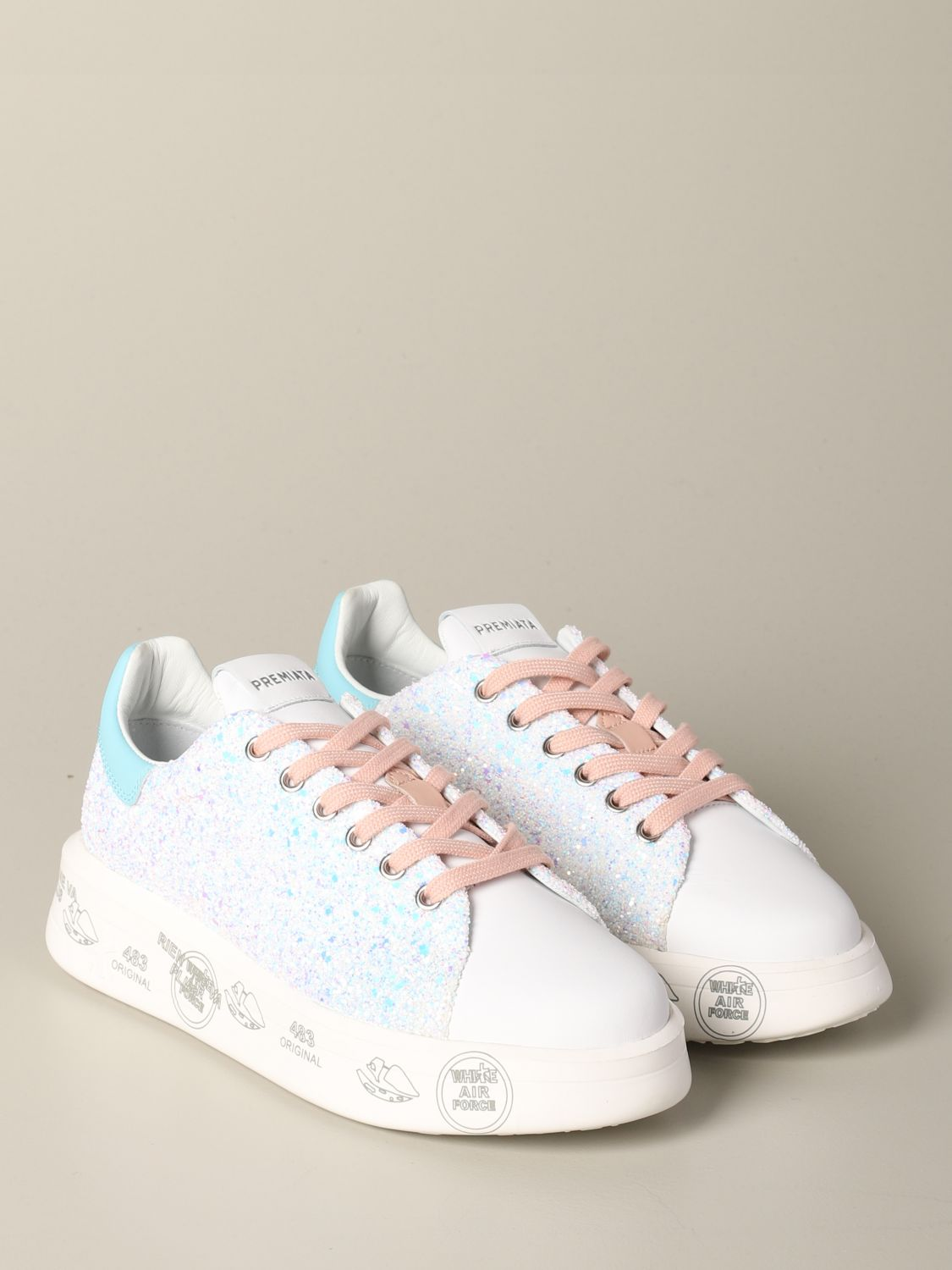 Belle Premiata sneakers in leather and glitter white 2