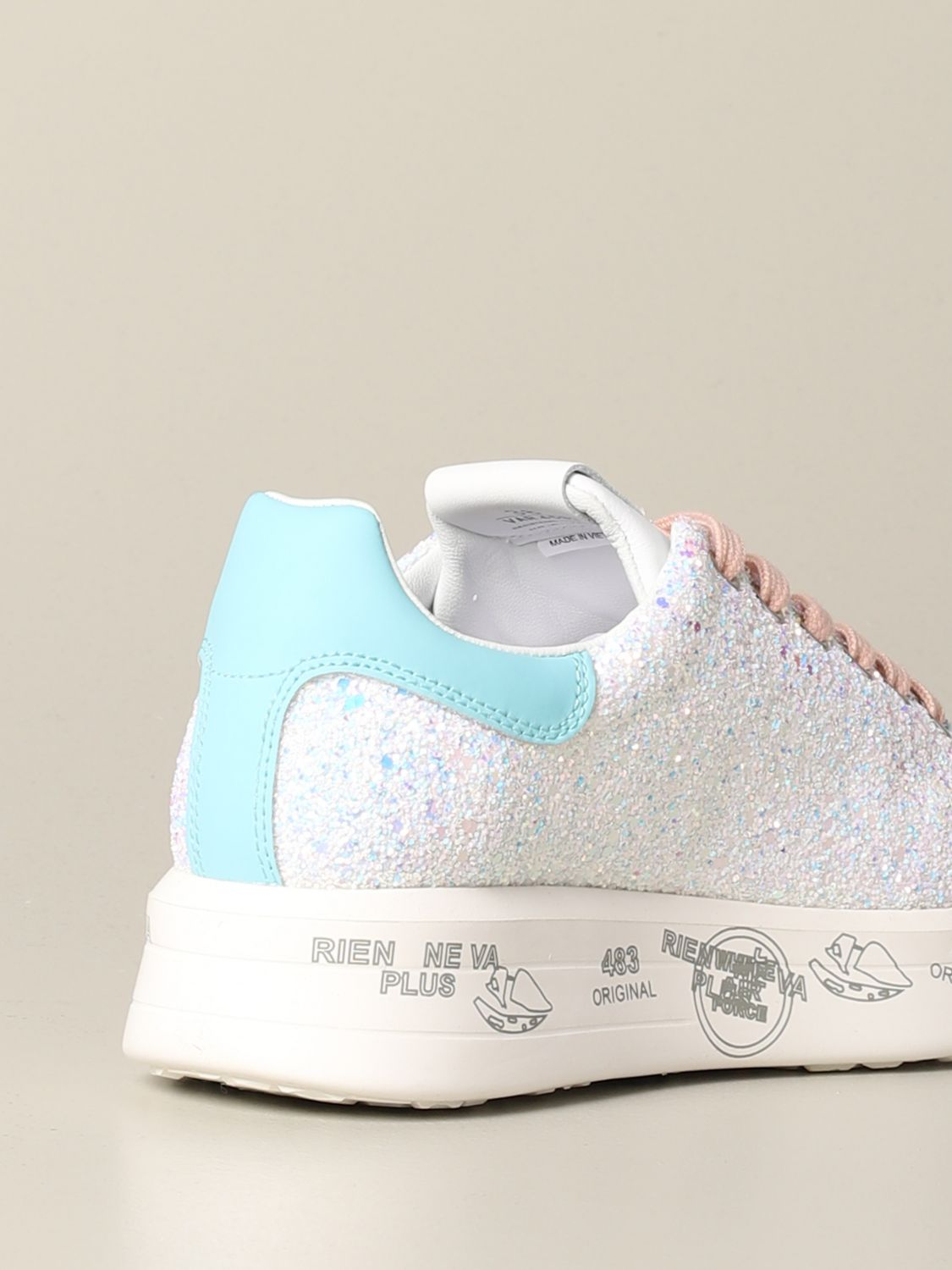 Belle Premiata sneakers in leather and glitter white 3