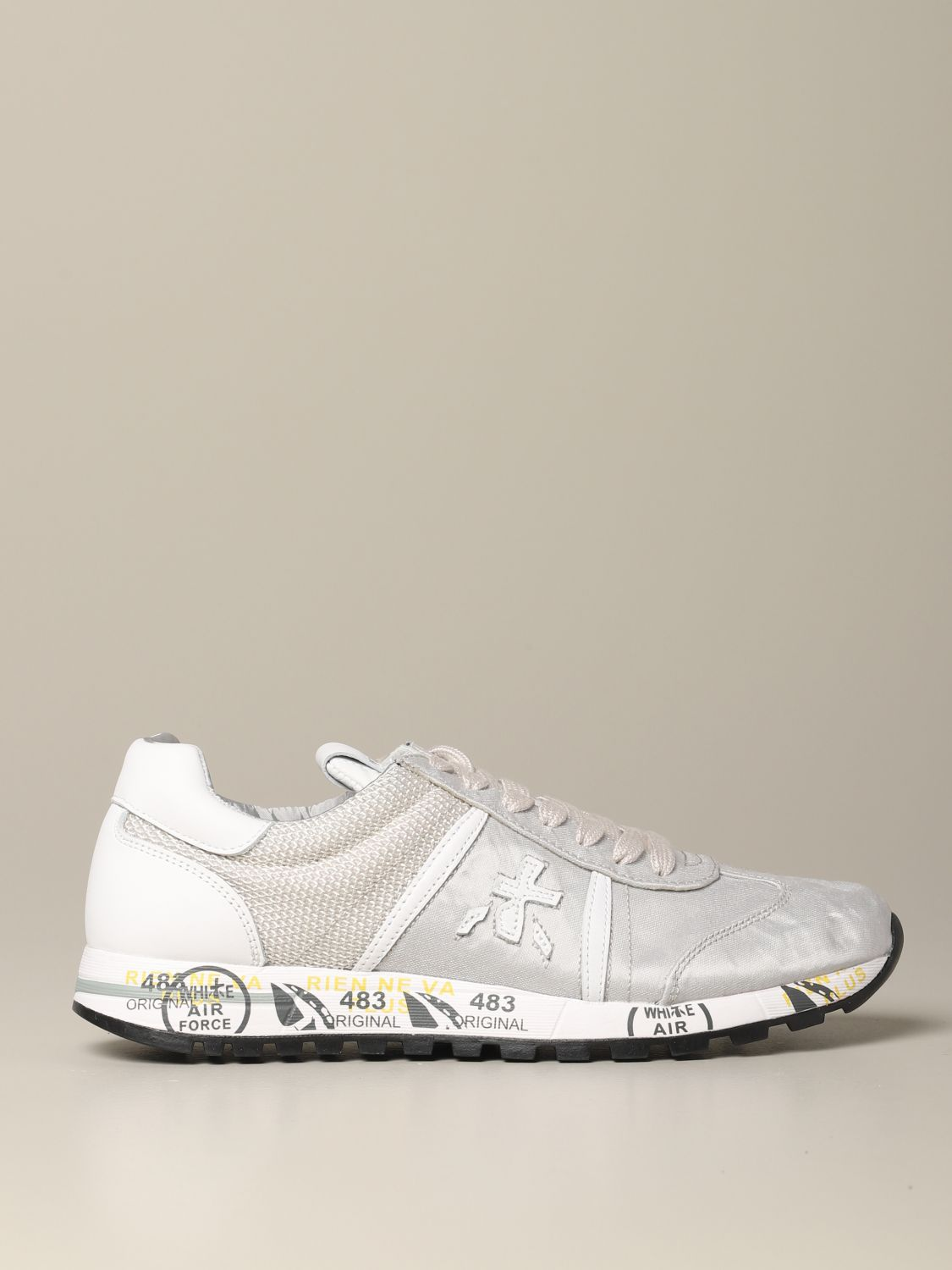 Lucy Premiata sneakers in laminated canvas and mesh pearl 1