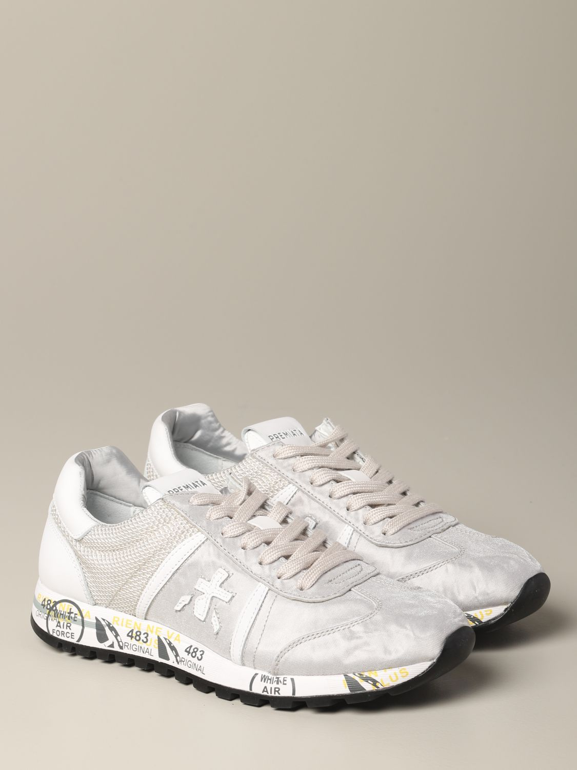Lucy Premiata sneakers in laminated canvas and mesh pearl 2