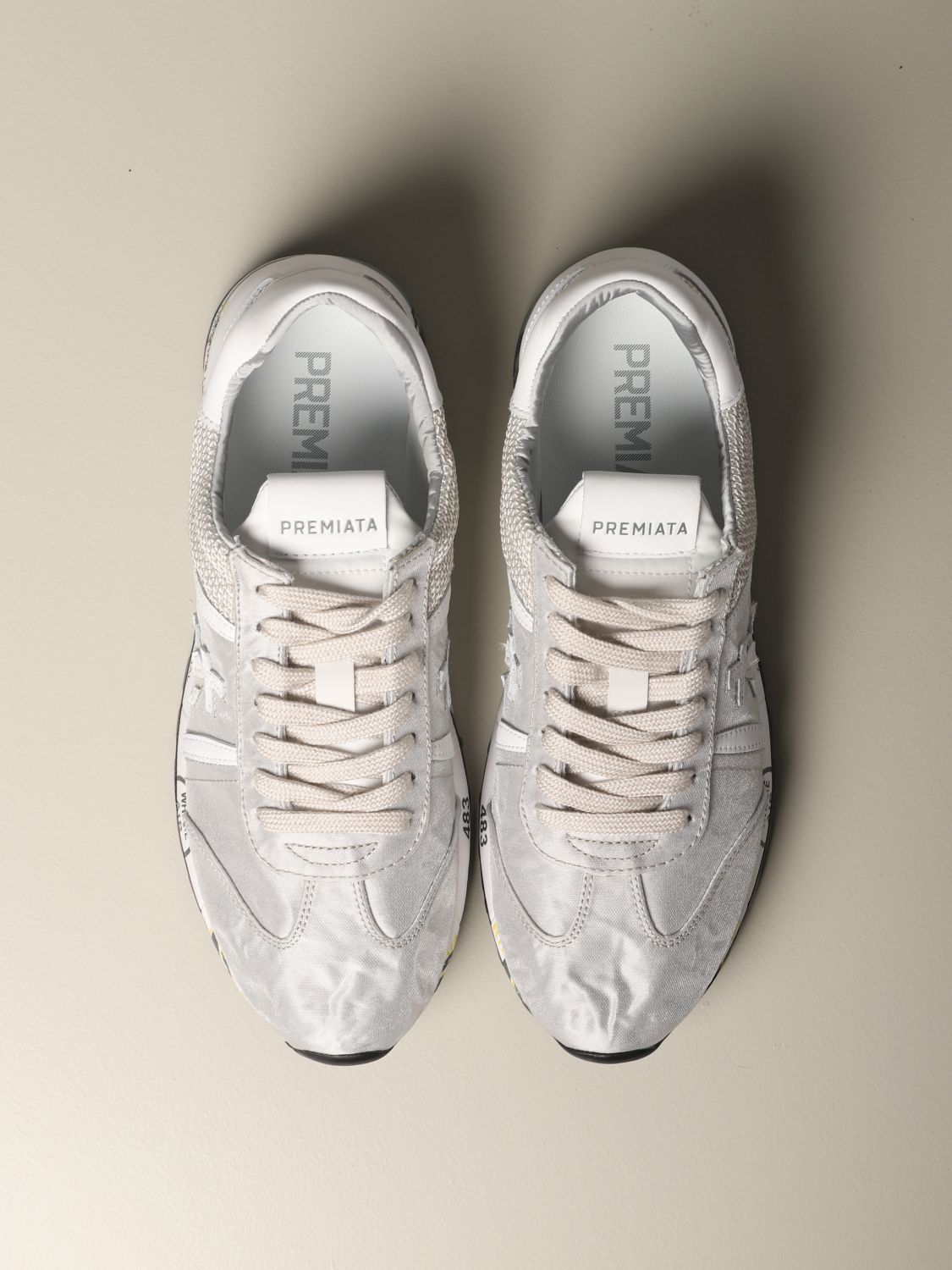 Lucy Premiata sneakers in laminated canvas and mesh pearl 3