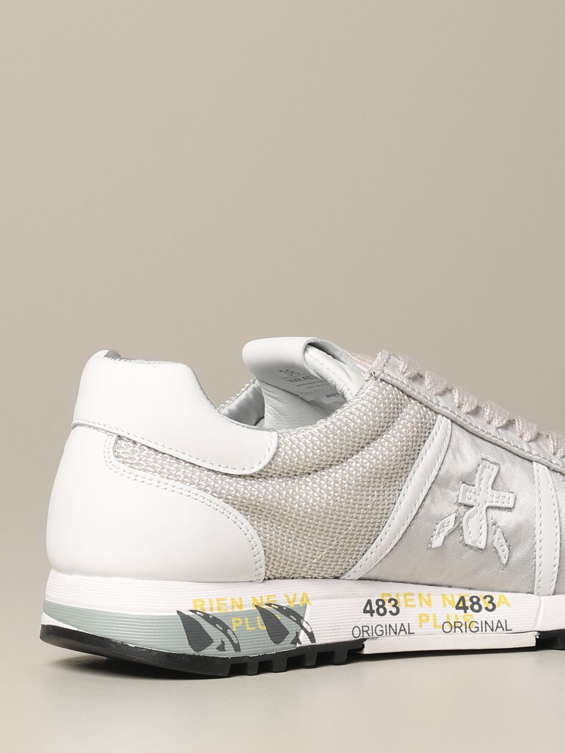 Lucy Premiata sneakers in laminated canvas and mesh pearl 5