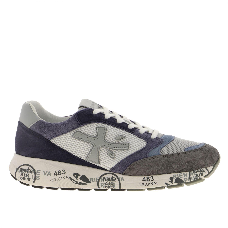 Sneakers Zac zac Premiata in camoscio e rete bicolor con logo blue 1