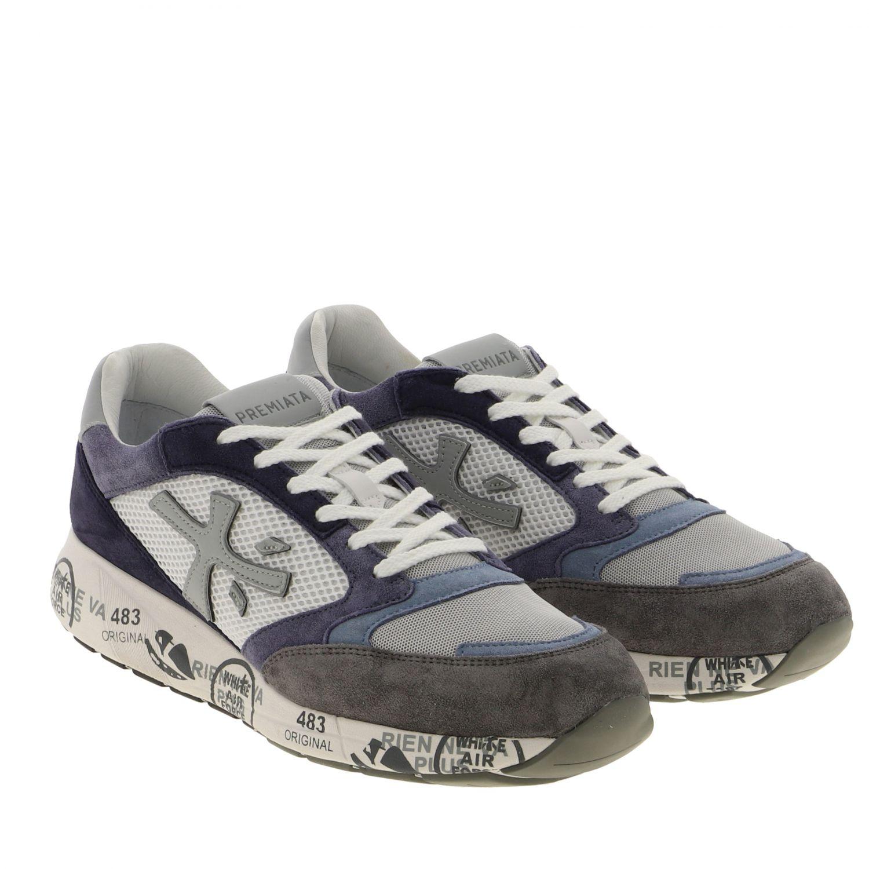 Sneakers Zac zac Premiata in camoscio e rete bicolor con logo blue 2