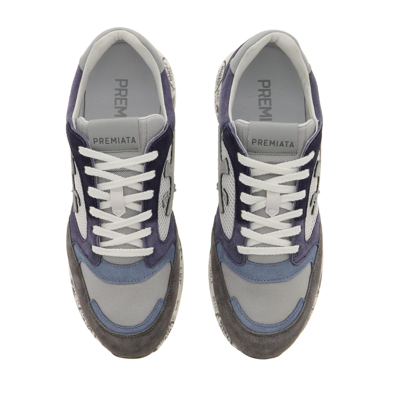 Sneakers Zac zac Premiata in camoscio e rete bicolor con logo blue 3