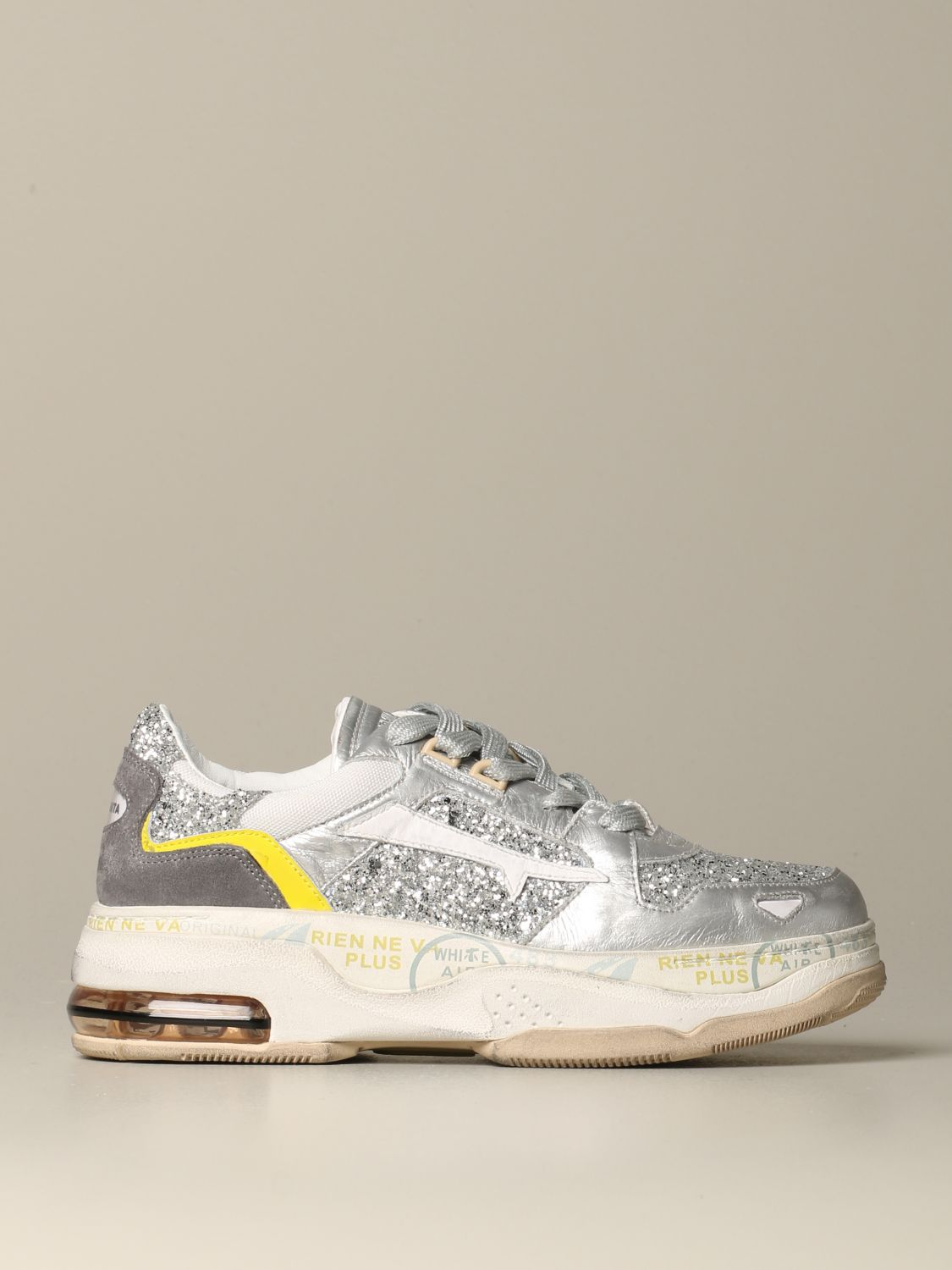 Premiata Drake sizey sneakers in leather and glitter silver 1