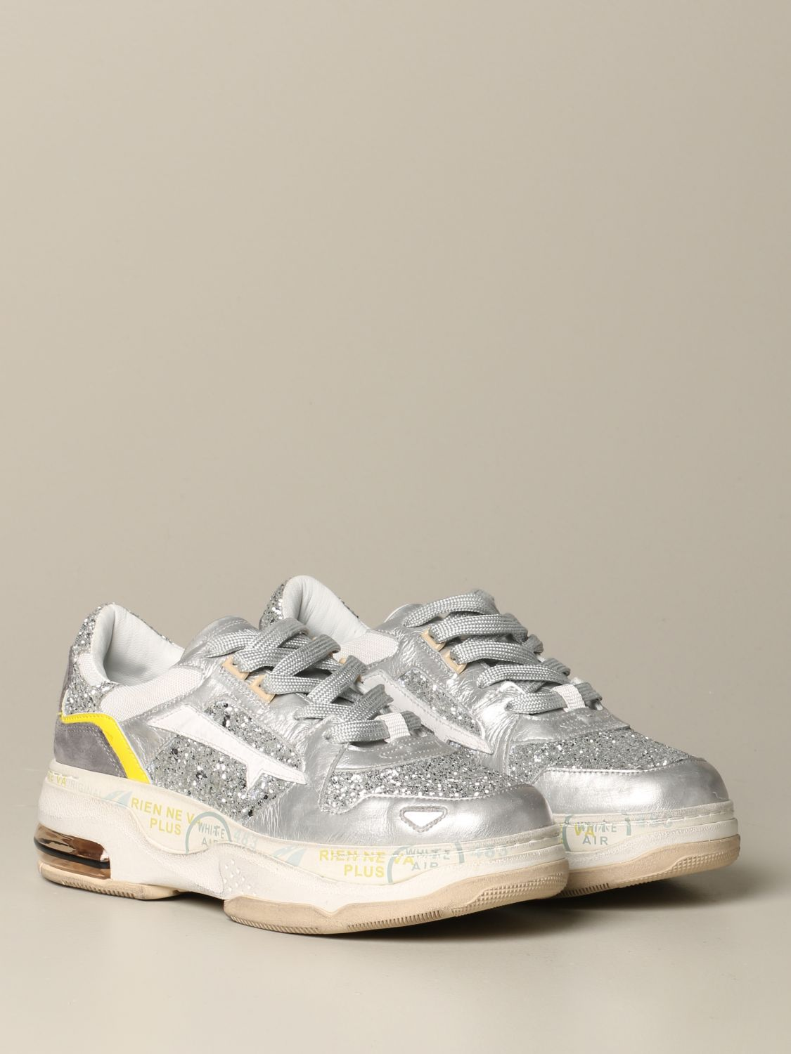 Premiata Drake sizey sneakers in leather and glitter silver 2