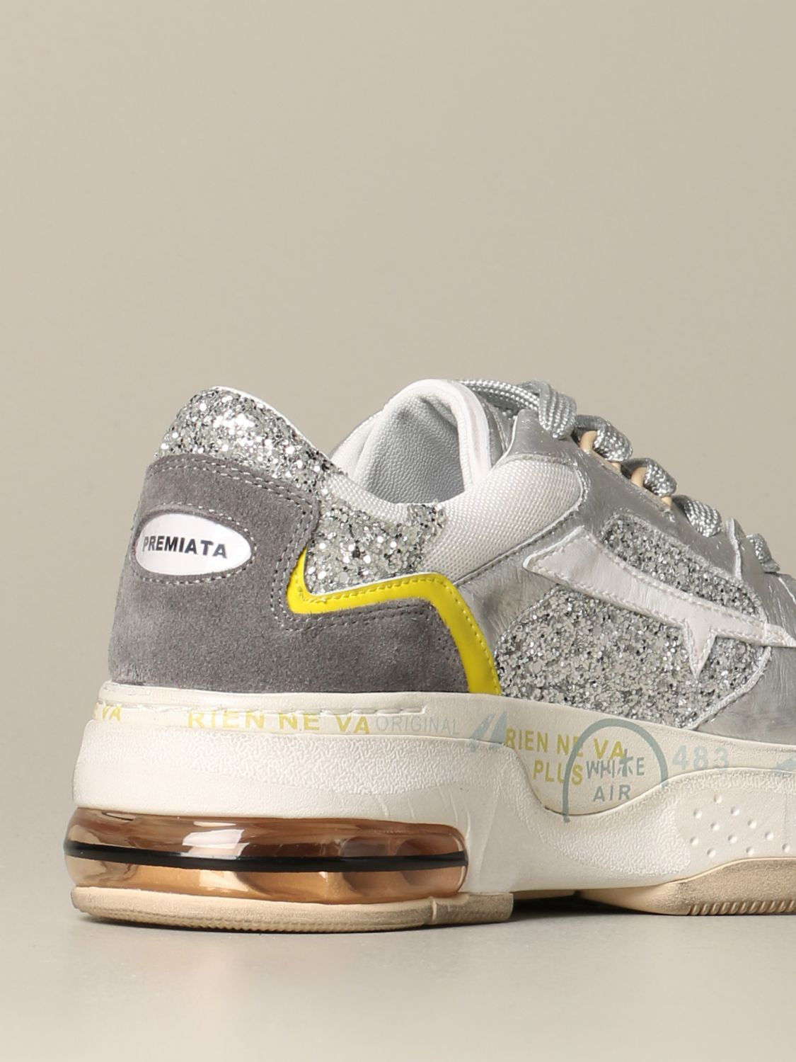 Premiata Drake sizey sneakers in leather and glitter silver 3