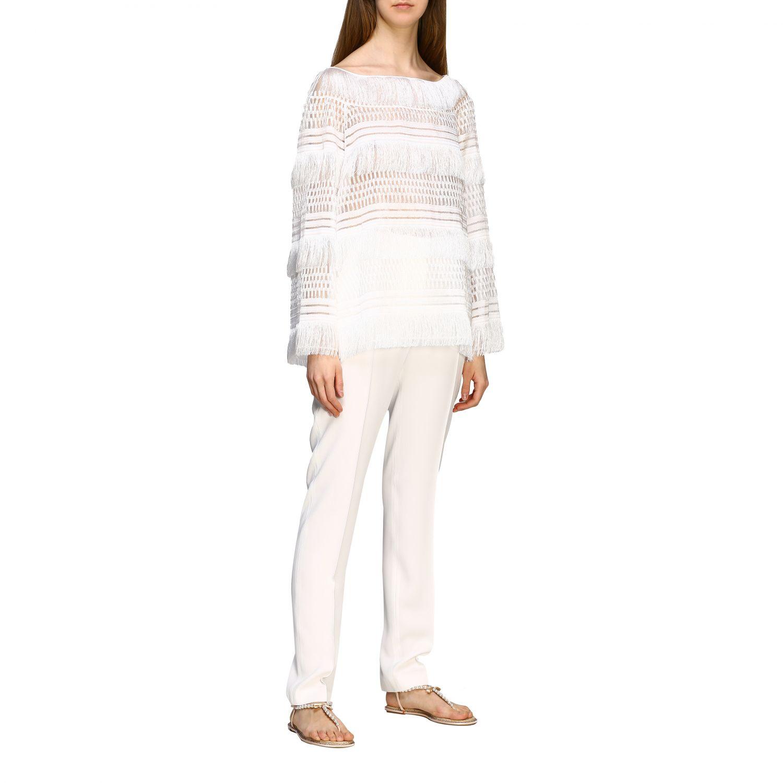 Pants Alberta Ferretti: Alberta Ferretti satin trousers with america pockets white 2