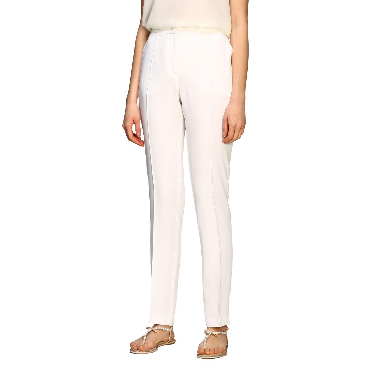 Pants Alberta Ferretti: Alberta Ferretti satin trousers with america pockets white 4