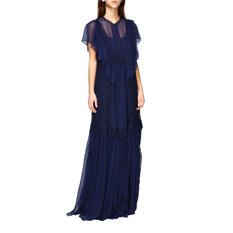 Robes Alberta Ferretti: Robe longue Alberta Ferretti en maille brodée bleu 1