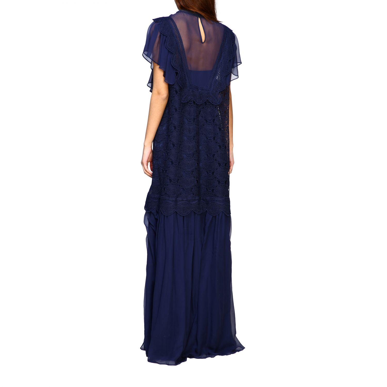 Robes Alberta Ferretti: Robe longue Alberta Ferretti en maille brodée bleu 2