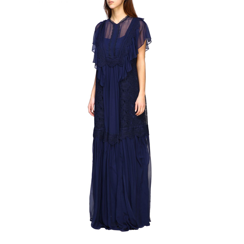 Robes Alberta Ferretti: Robe longue Alberta Ferretti en maille brodée bleu 3