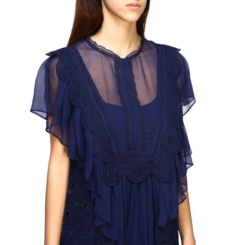 Robes Alberta Ferretti: Robe longue Alberta Ferretti en maille brodée bleu 4