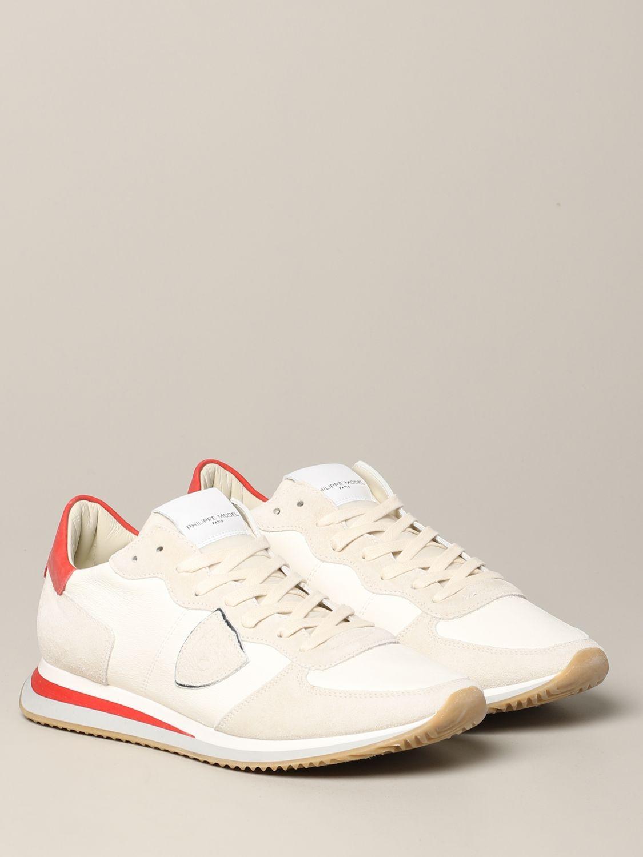 Baskets Tropez Philippe Model en daim et nylon blanc 2