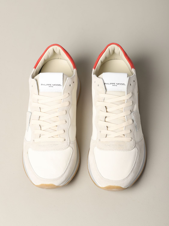 Baskets Tropez Philippe Model en daim et nylon blanc 3
