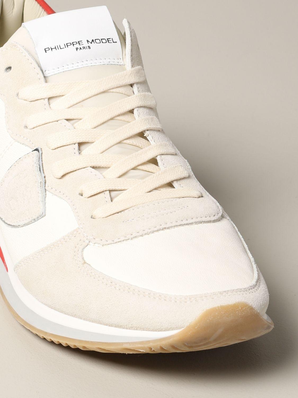 Baskets Tropez Philippe Model en daim et nylon blanc 4