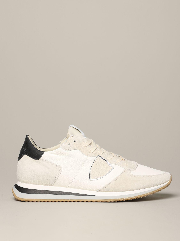 Philippe Model Tropez Sneakers aus Wildleder und Nylon weiß 1