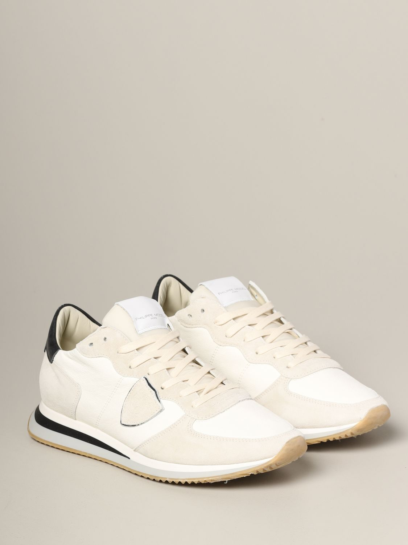 Philippe Model Tropez Sneakers aus Wildleder und Nylon weiß 2