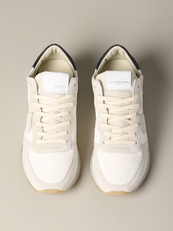 Philippe Model Tropez Sneakers aus Wildleder und Nylon weiß 3