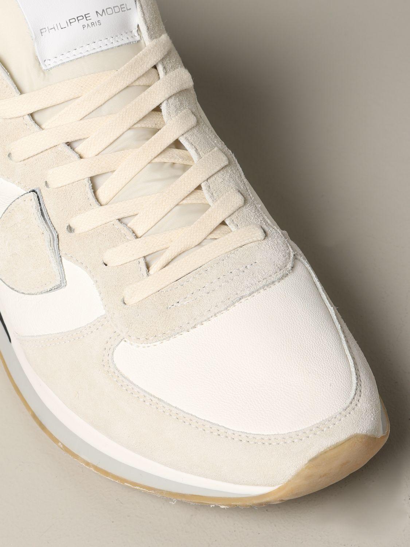 Philippe Model Tropez Sneakers aus Wildleder und Nylon weiß 4