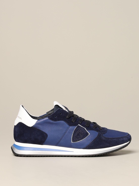 Baskets Tropez Philippe Model en daim et nylon bleu 1