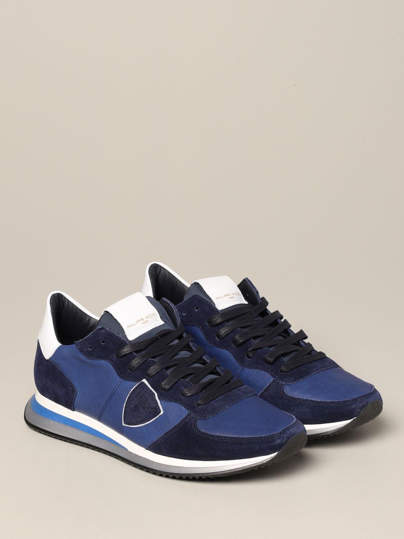 Baskets Tropez Philippe Model en daim et nylon bleu 2