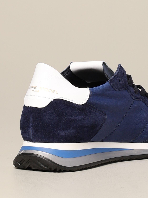 Baskets Tropez Philippe Model en daim et nylon bleu 5
