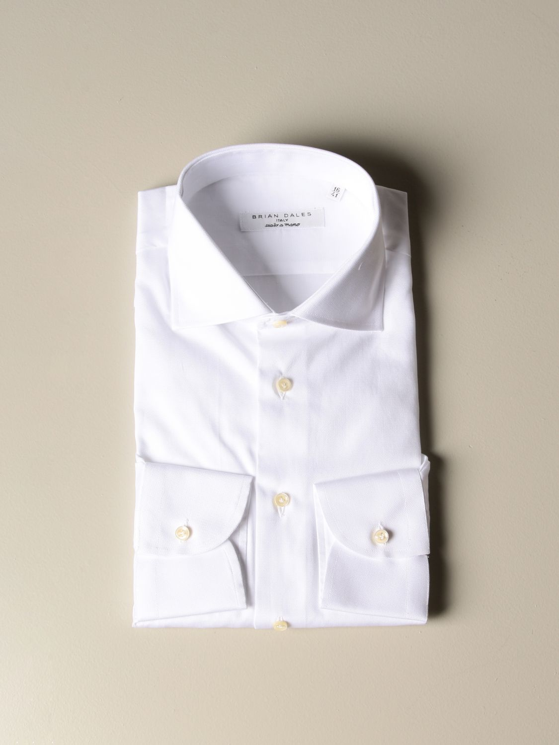 Shirt Brian Dales Camicie: Brian Dales Camicie tailored shirt in textured cotton with Italian collar white 1