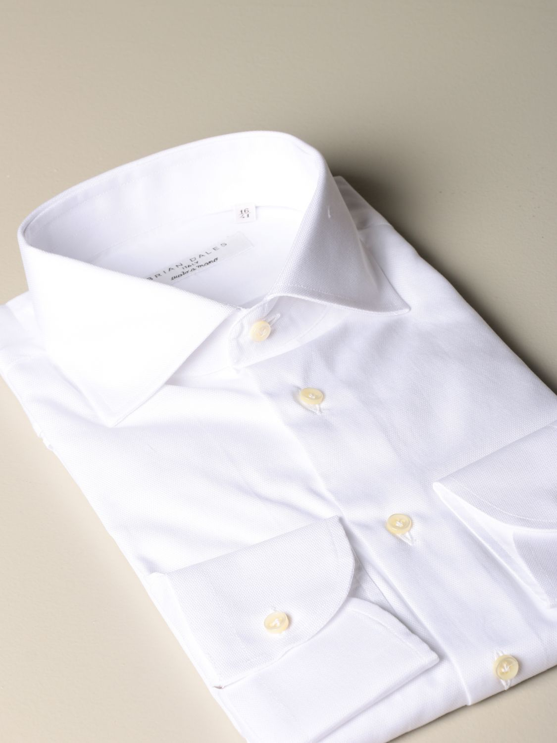 Shirt Brian Dales Camicie: Brian Dales Camicie tailored shirt in textured cotton with Italian collar white 2