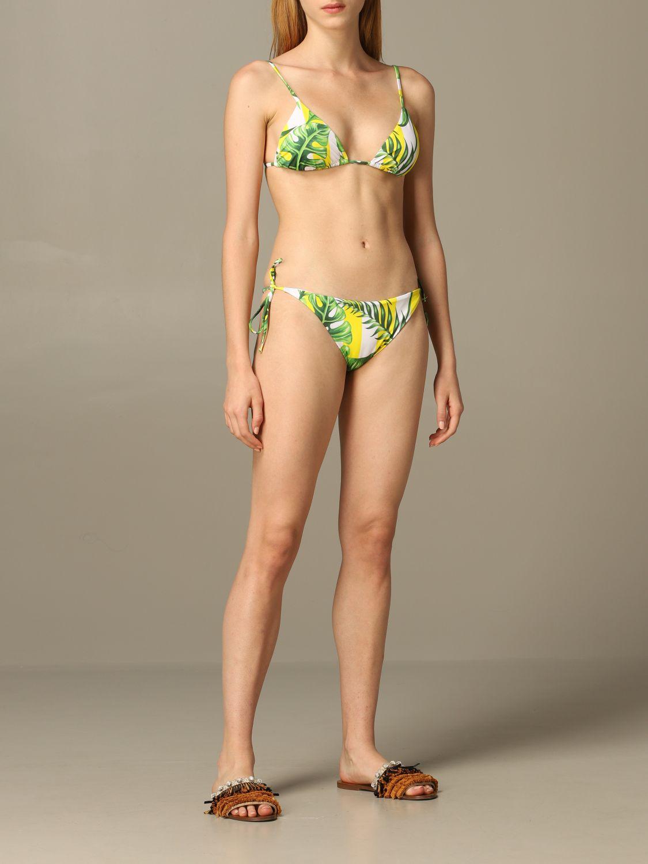 Janet MC2 Saint Barth triangle swimsuit with leaf print green 2