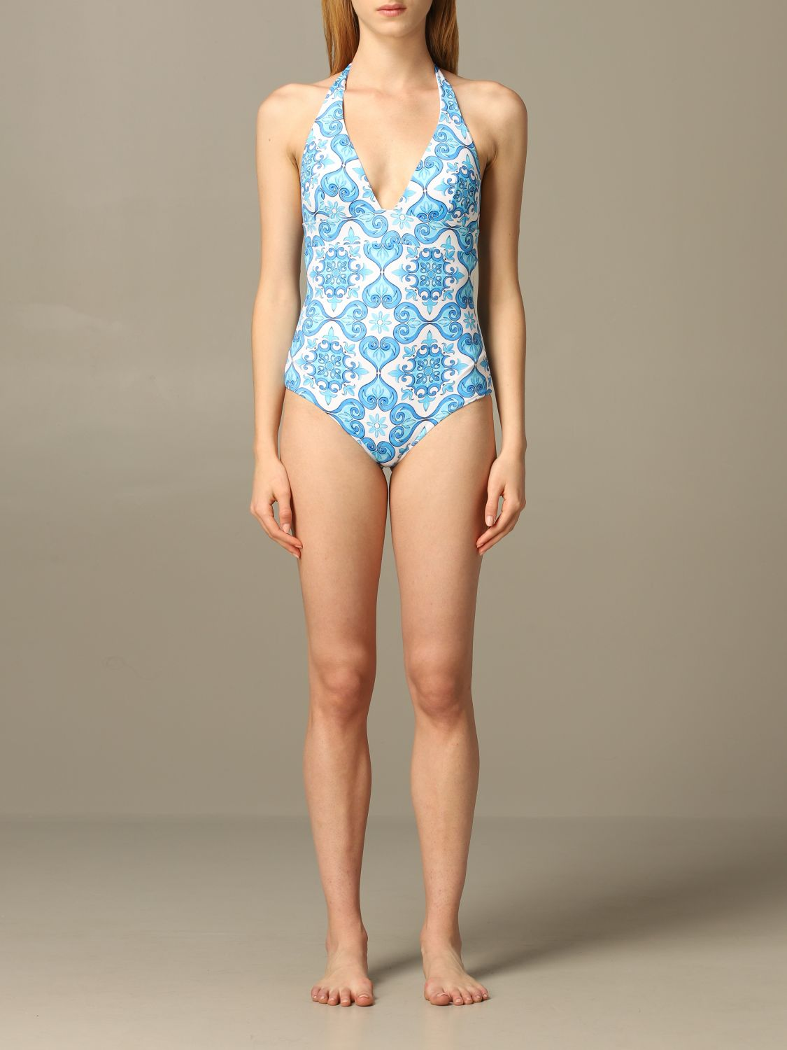MC2 Saint Barth one piece swimsuit with majolica print gnawed blue 1