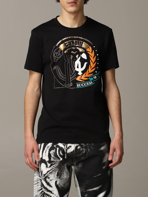 T-shirt Roberto Cavalli a maniche corte con logo nero 1