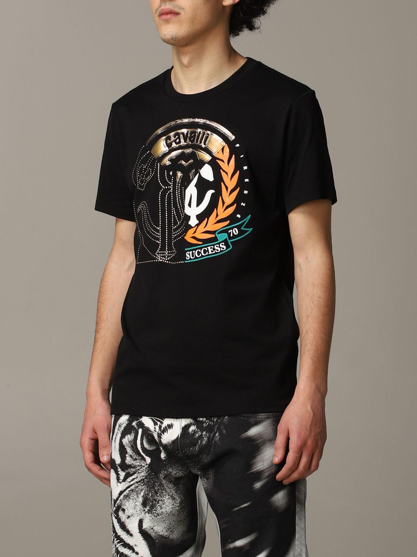 T-shirt Roberto Cavalli a maniche corte con logo nero 4