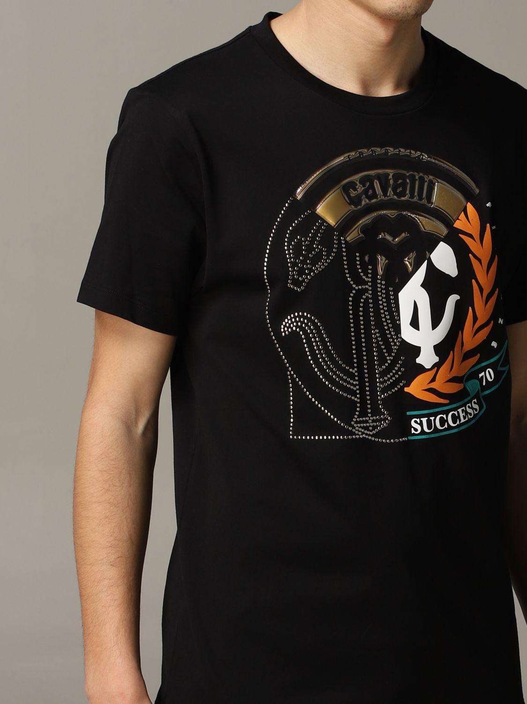 T-shirt Roberto Cavalli a maniche corte con logo nero 5