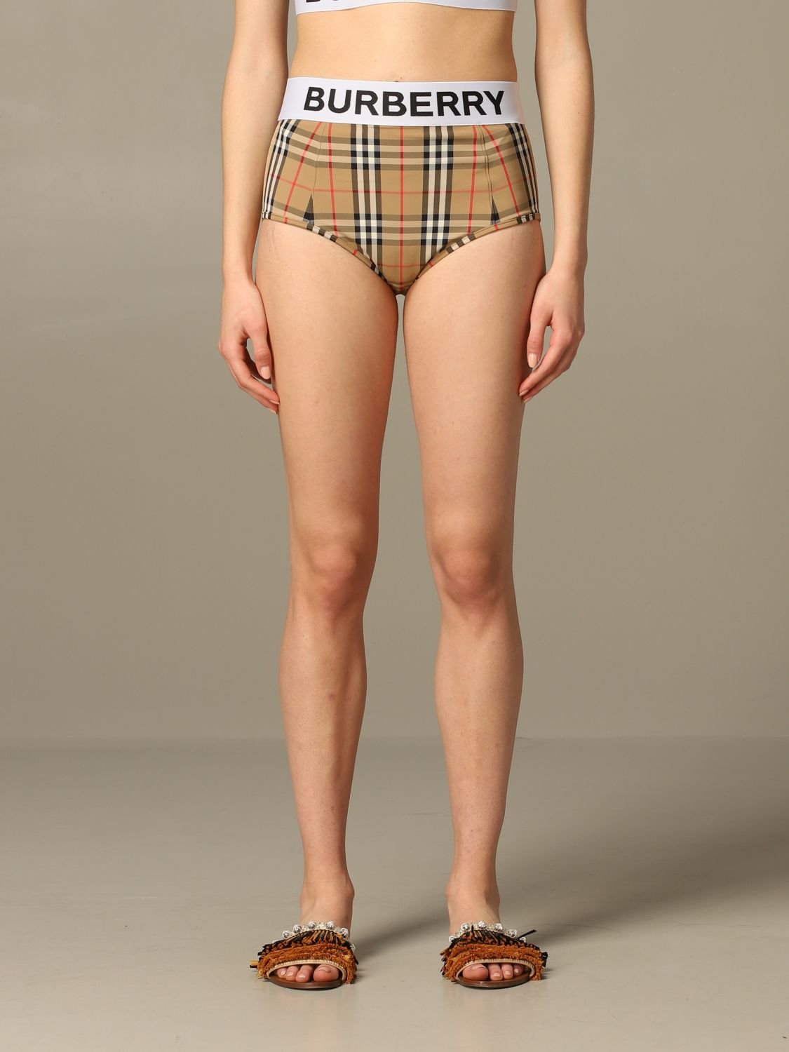 Checkered Burberry Tessa swimsuit with logo band beige 1