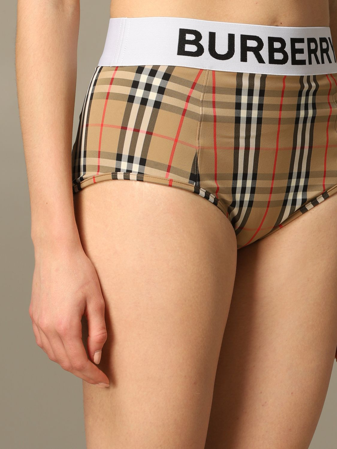 Checkered Burberry Tessa swimsuit with logo band beige 4