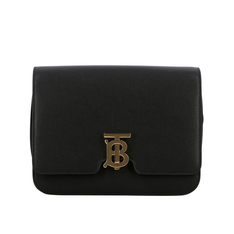 Burberry TB leather bag with monogram black 1