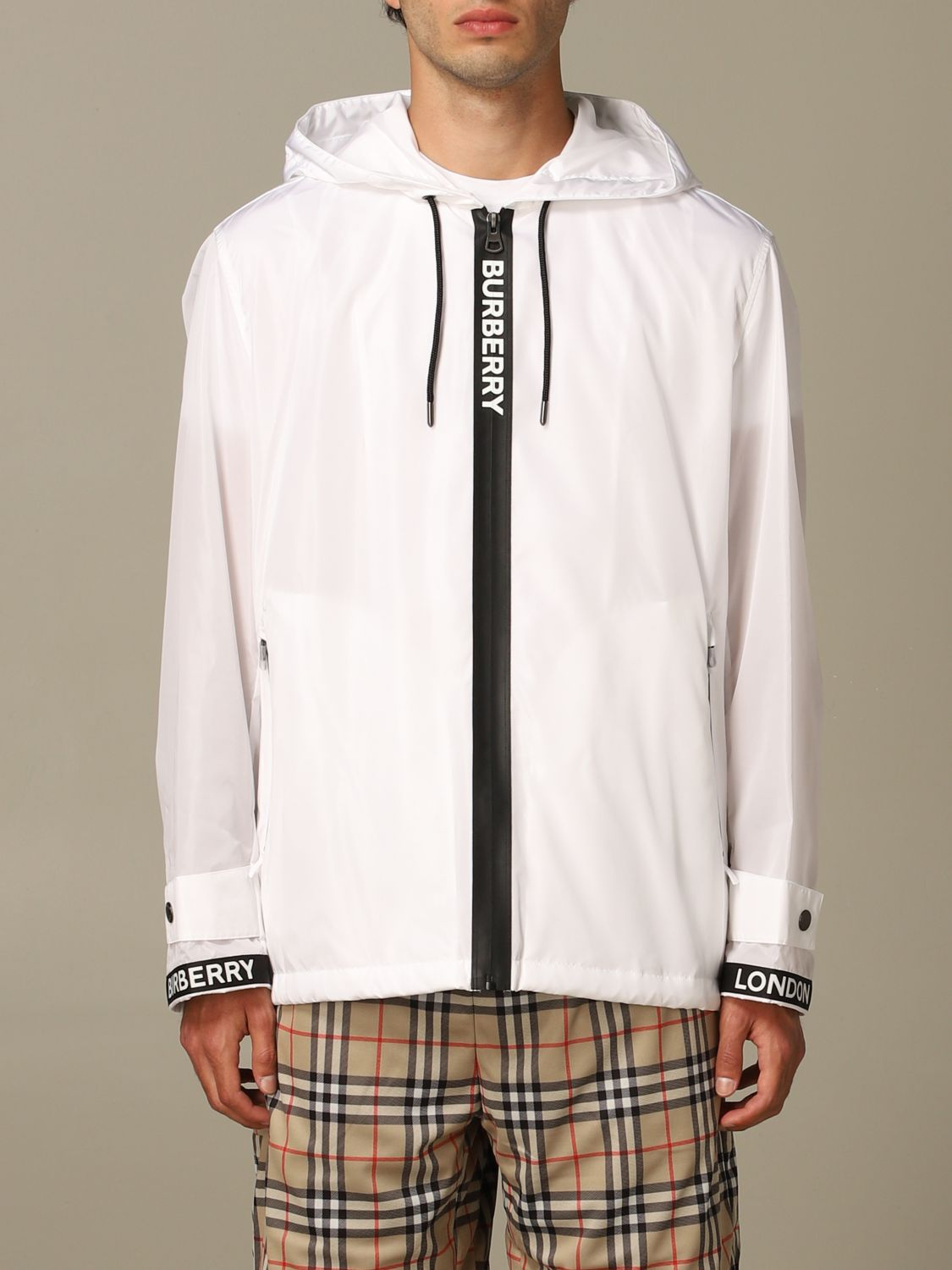 Jacket Burberry: Burberry nylon jacket with zip and hood white 1