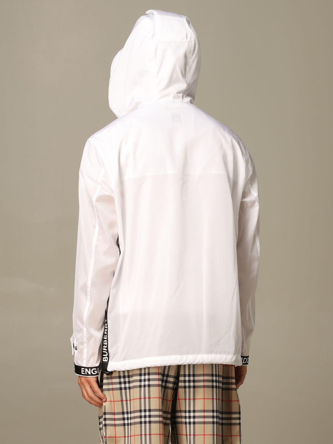 Jacket Burberry: Burberry nylon jacket with zip and hood white 2