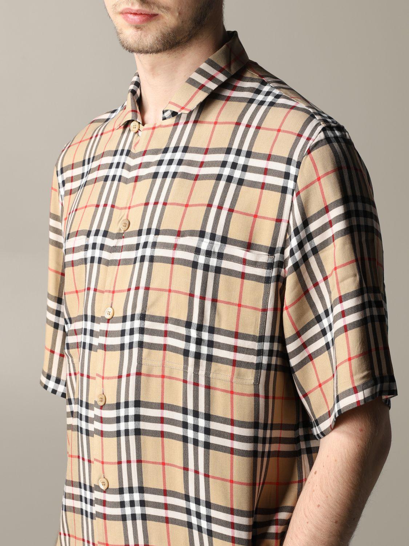 Camicia Burberry a maniche corte check beige 5