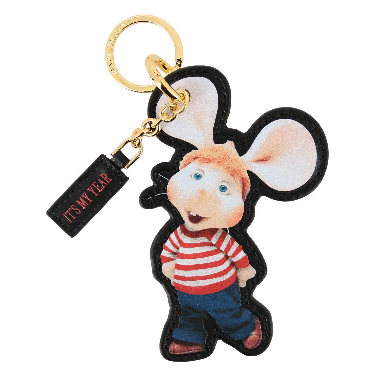 Key chain Alberta Ferretti: Alberta Ferretti keychain in leather in the shape of Topo Gigio black 1