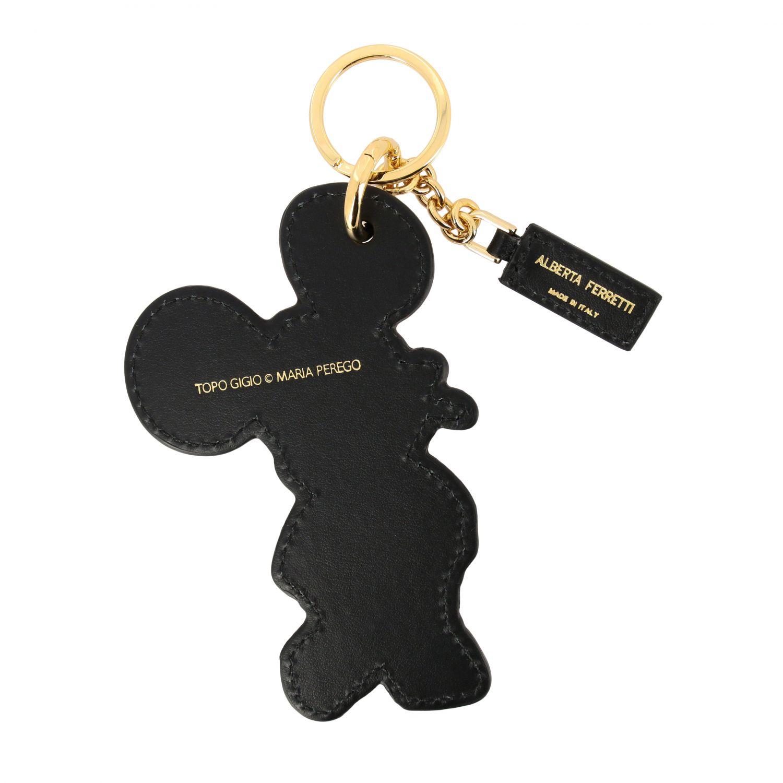 Key chain Alberta Ferretti: Alberta Ferretti keychain in leather in the shape of Topo Gigio black 2
