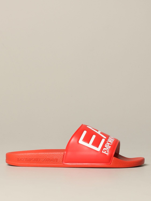 Sandalo EA7 Swimwear in gomma con logo rosso 1