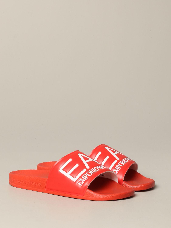 Sandalo EA7 Swimwear in gomma con logo rosso 2