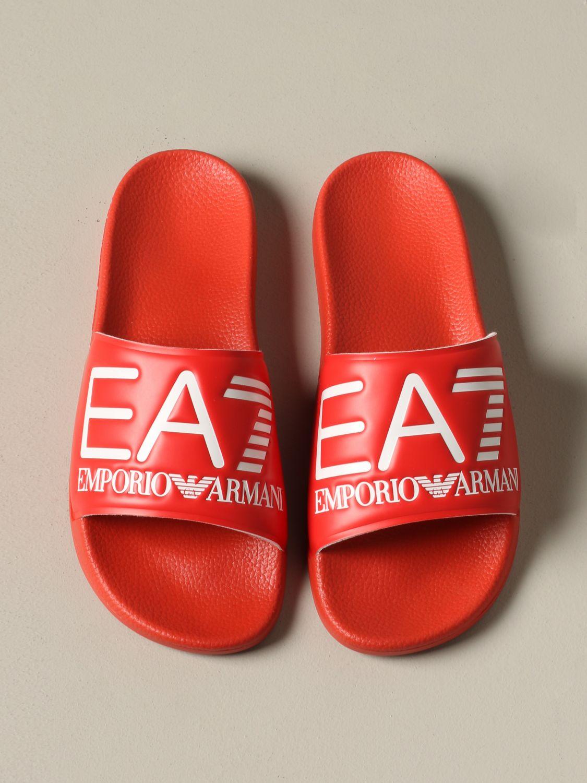 Sandalo EA7 Swimwear in gomma con logo rosso 3